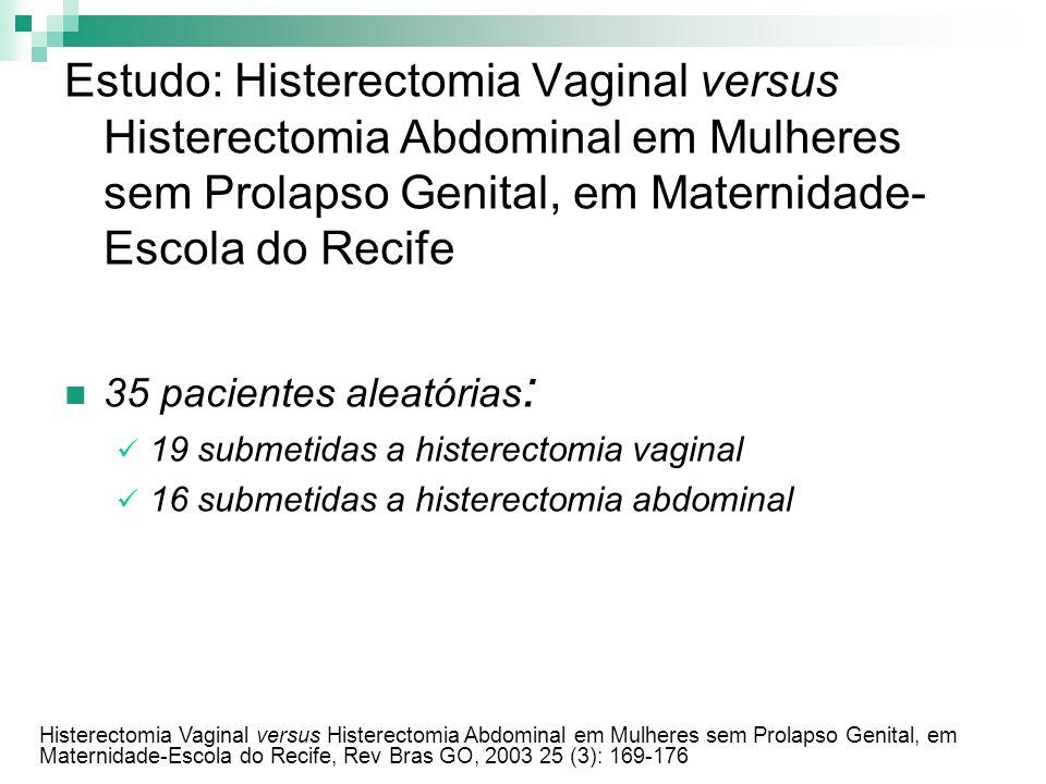 Estudo: Histerectomia Vaginal versus Histerectomia Abdominal em Mulheres sem Prolapso Genital, em Maternidade-Escola do Recife