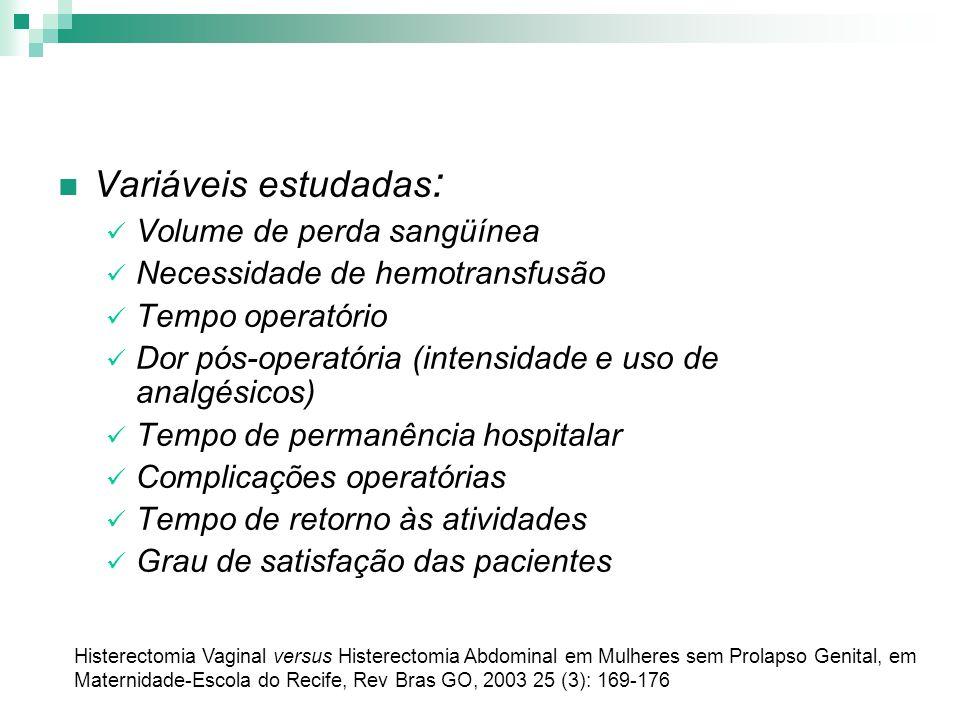 Variáveis estudadas: Volume de perda sangüínea