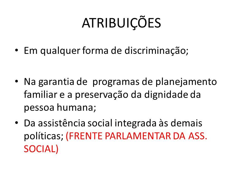 ATRIBUIÇÕES Em qualquer forma de discriminação;