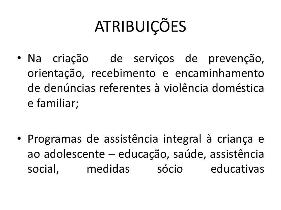 ATRIBUIÇÕES Na criação de serviços de prevenção, orientação, recebimento e encaminhamento de denúncias referentes à violência doméstica e familiar;