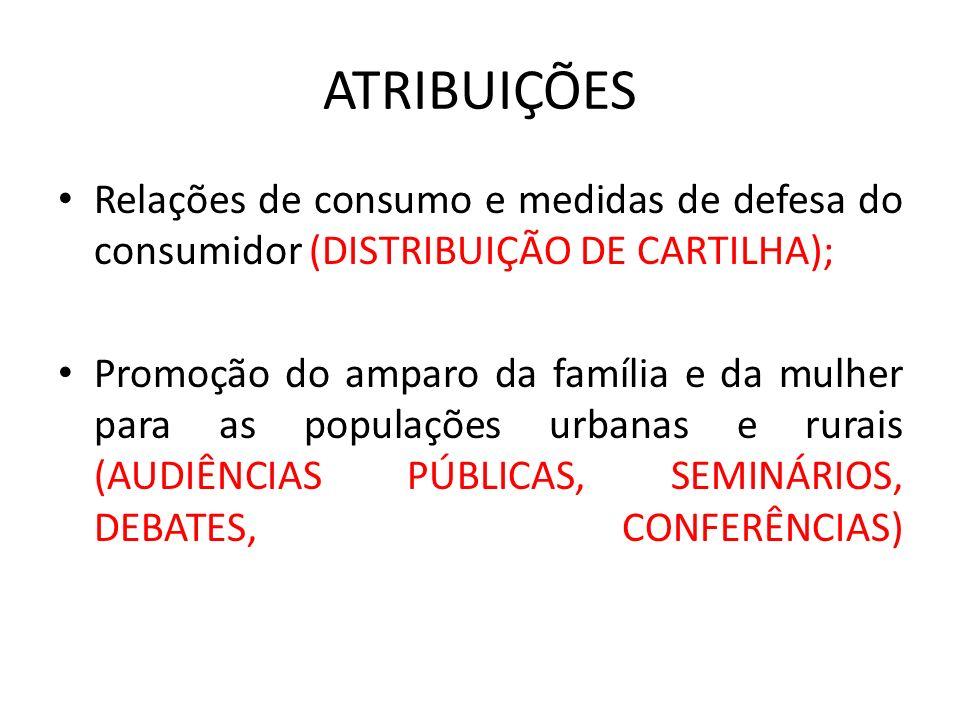 ATRIBUIÇÕES Relações de consumo e medidas de defesa do consumidor (DISTRIBUIÇÃO DE CARTILHA);