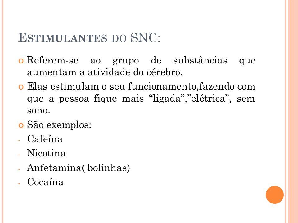 Estimulantes do SNC: Referem-se ao grupo de substâncias que aumentam a atividade do cérebro.
