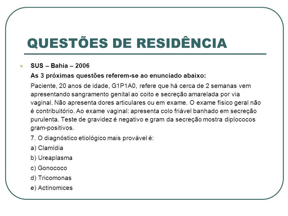 QUESTÕES DE RESIDÊNCIA