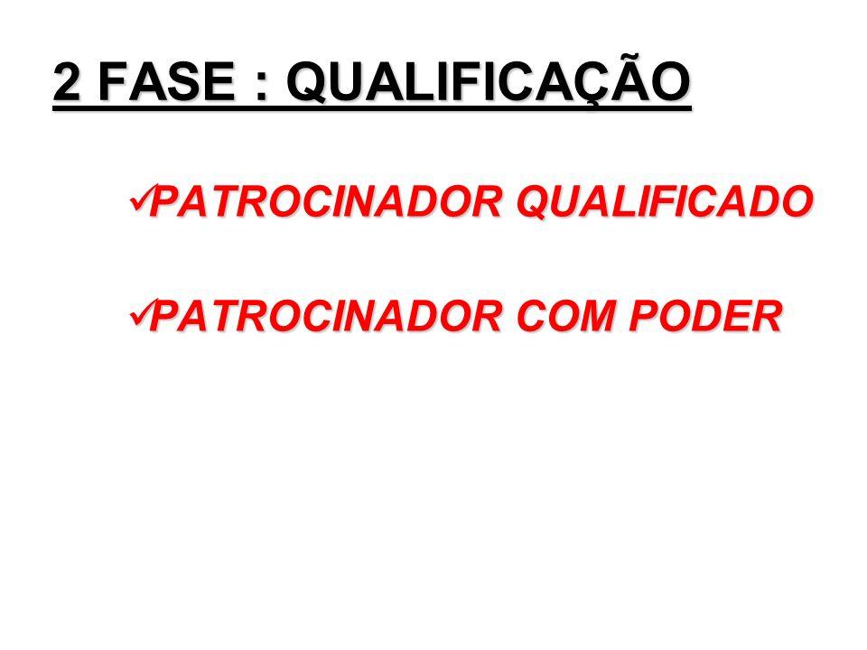 2 FASE : QUALIFICAÇÃO PATROCINADOR QUALIFICADO PATROCINADOR COM PODER
