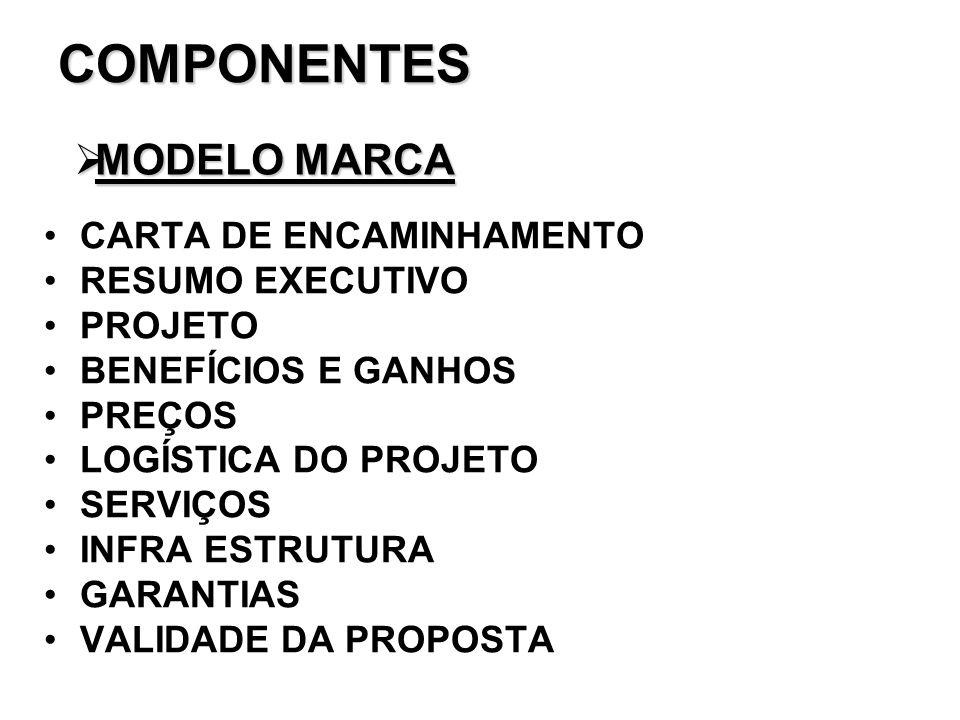 COMPONENTES MODELO MARCA CARTA DE ENCAMINHAMENTO RESUMO EXECUTIVO
