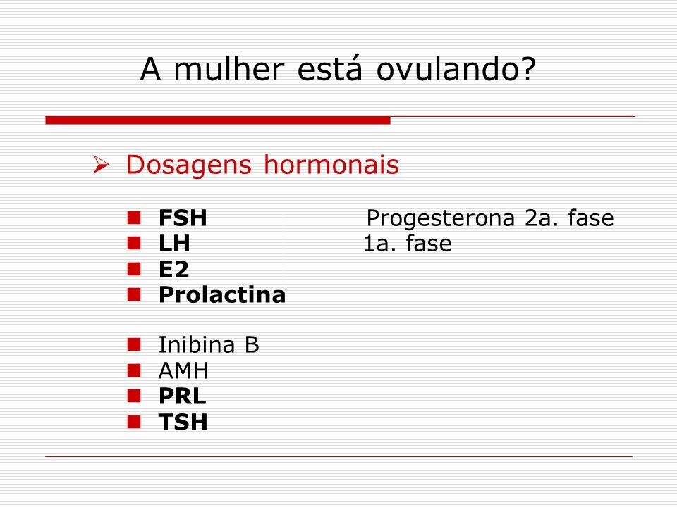 A mulher está ovulando Dosagens hormonais FSH Progesterona 2a. fase