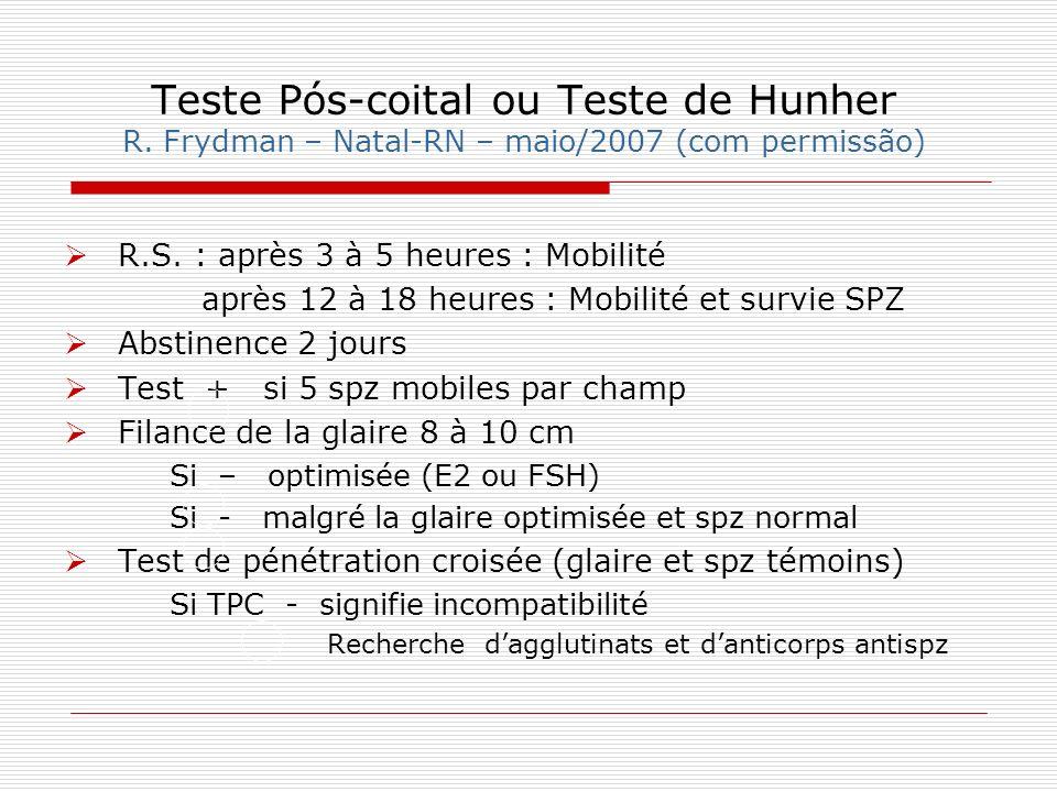Teste Pós-coital ou Teste de Hunher R