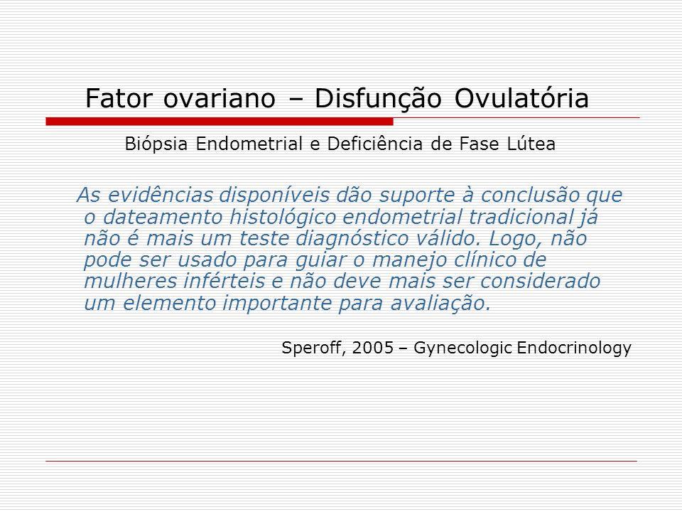 Fator ovariano – Disfunção Ovulatória