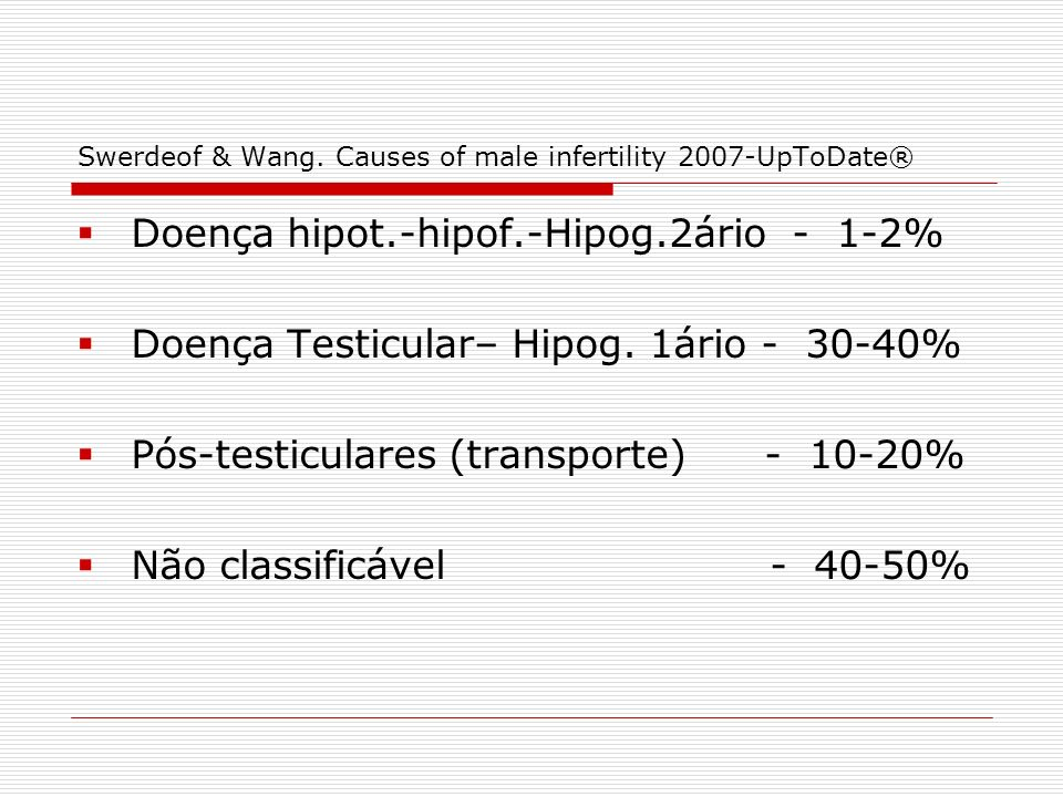Swerdeof & Wang. Causes of male infertility 2007-UpToDate®