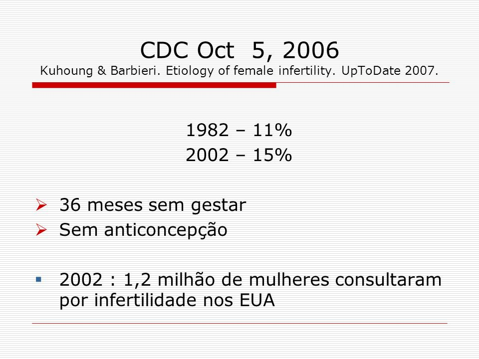 CDC Oct 5, 2006 Kuhoung & Barbieri. Etiology of female infertility
