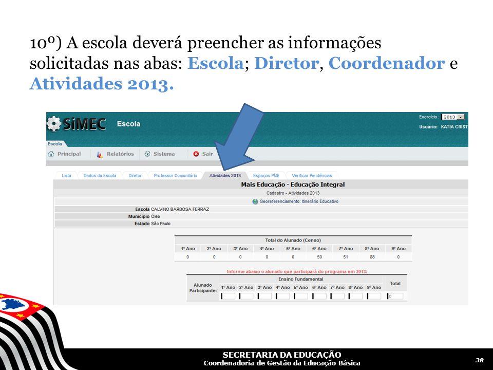 10º) A escola deverá preencher as informações solicitadas nas abas: Escola; Diretor, Coordenador e Atividades 2013.