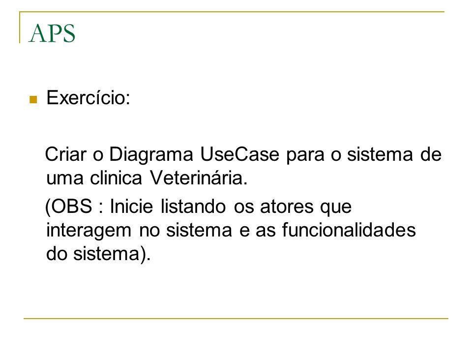 APSExercício: Criar o Diagrama UseCase para o sistema de uma clinica Veterinária.