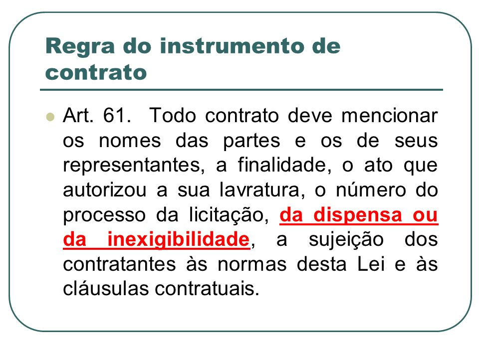 Regra do instrumento de contrato