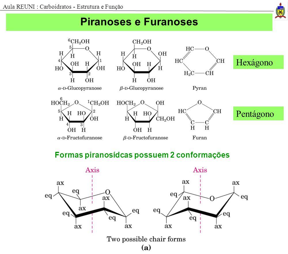 Formas piranosídcas possuem 2 conformações