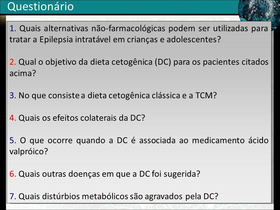Questionário 1. Quais alternativas não-farmacológicas podem ser utilizadas para tratar a Epilepsia intratável em crianças e adolescentes
