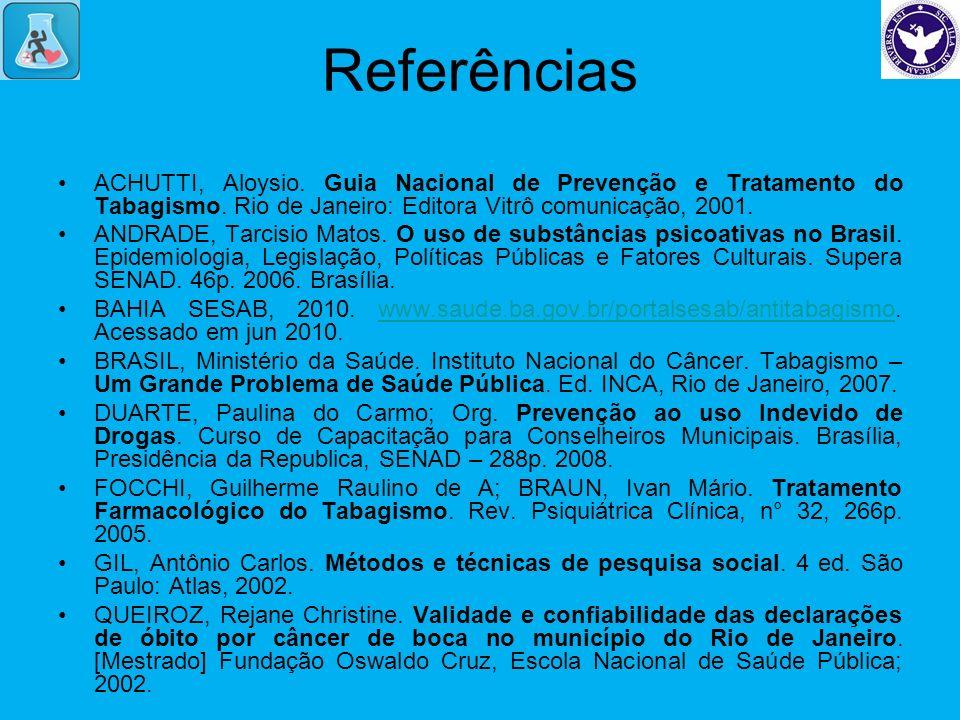 Referências ACHUTTI, Aloysio. Guia Nacional de Prevenção e Tratamento do Tabagismo. Rio de Janeiro: Editora Vitrô comunicação, 2001.