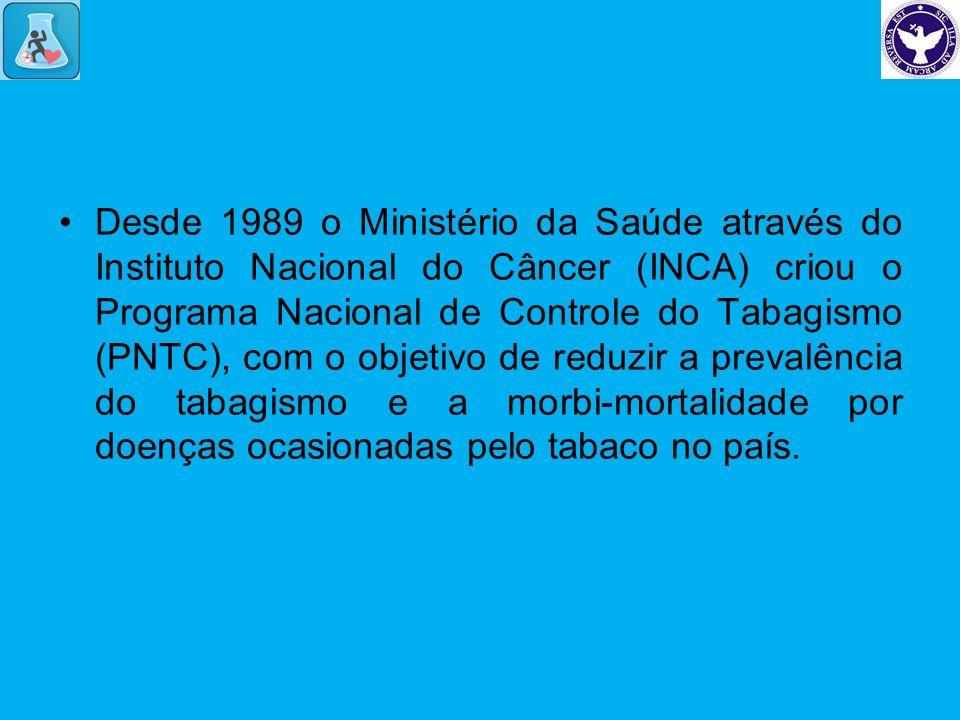 Desde 1989 o Ministério da Saúde através do Instituto Nacional do Câncer (INCA) criou o Programa Nacional de Controle do Tabagismo (PNTC), com o objetivo de reduzir a prevalência do tabagismo e a morbi-mortalidade por doenças ocasionadas pelo tabaco no país.