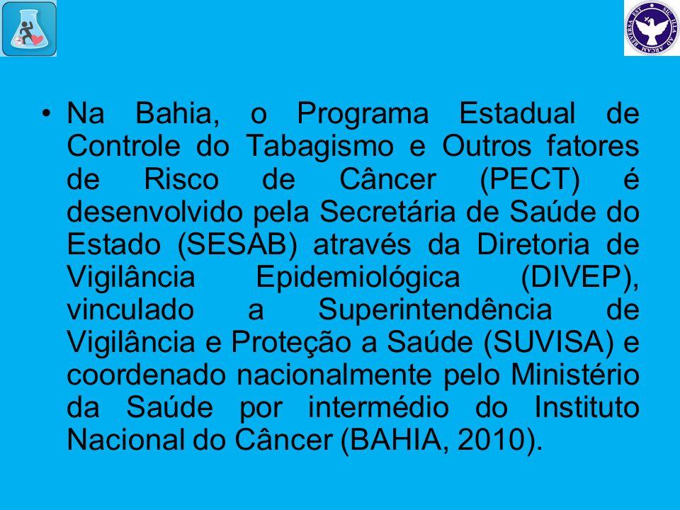 Na Bahia, o Programa Estadual de Controle do Tabagismo e Outros fatores de Risco de Câncer (PECT) é desenvolvido pela Secretária de Saúde do Estado (SESAB) através da Diretoria de Vigilância Epidemiológica (DIVEP), vinculado a Superintendência de Vigilância e Proteção a Saúde (SUVISA) e coordenado nacionalmente pelo Ministério da Saúde por intermédio do Instituto Nacional do Câncer (BAHIA, 2010).