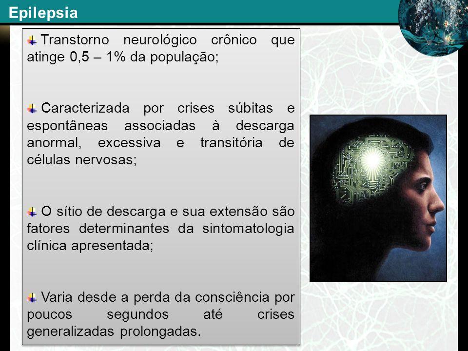 Epilepsia Transtorno neurológico crônico que atinge 0,5 – 1% da população;