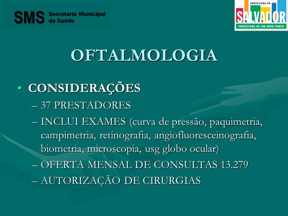 OFTALMOLOGIA CONSIDERAÇÕES 37 PRESTADORES