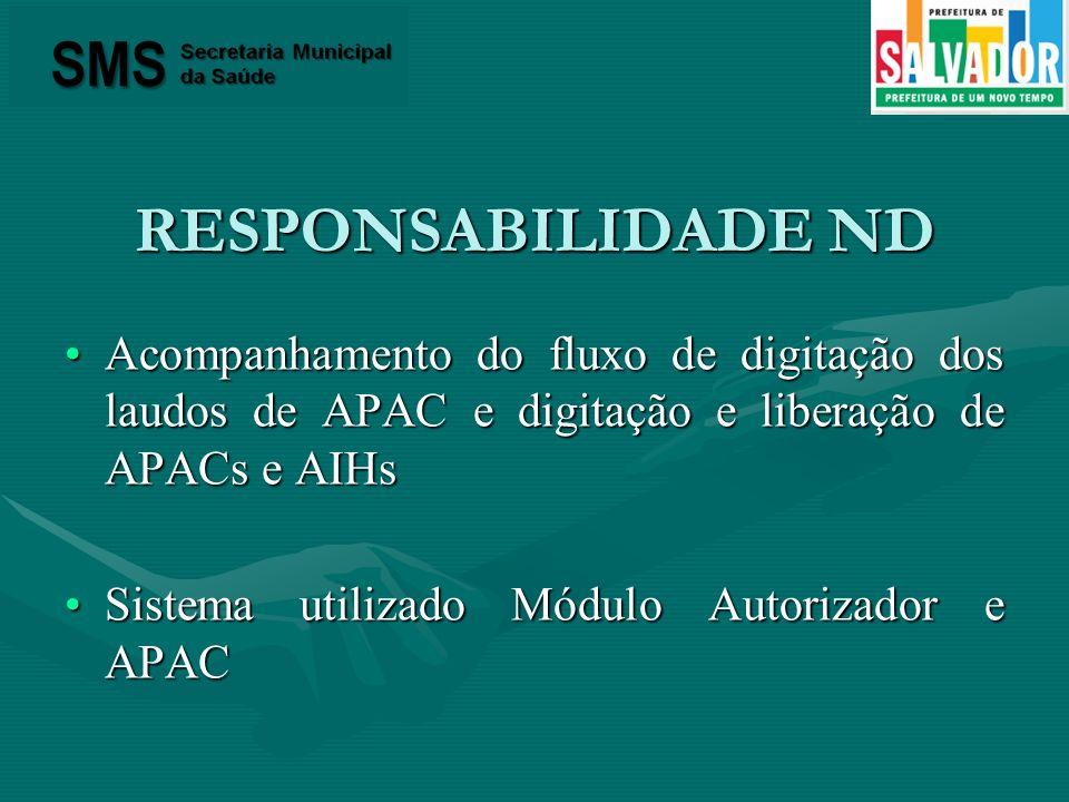 RESPONSABILIDADE ND Acompanhamento do fluxo de digitação dos laudos de APAC e digitação e liberação de APACs e AIHs.