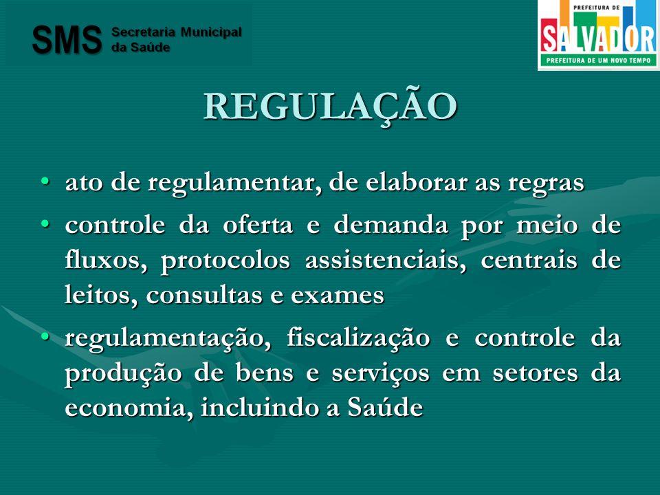 REGULAÇÃO ato de regulamentar, de elaborar as regras