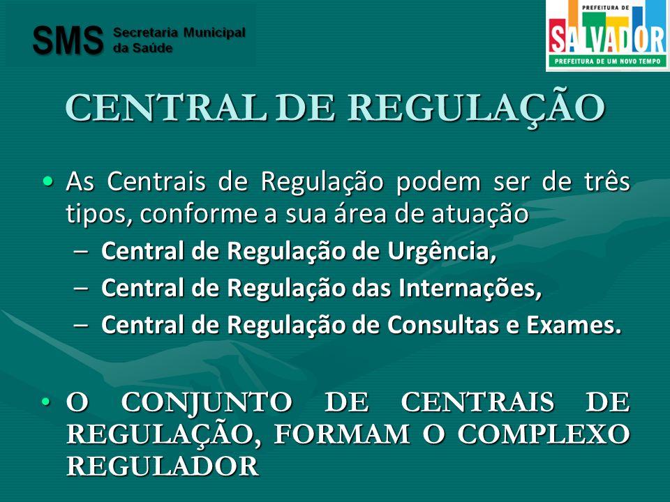 CENTRAL DE REGULAÇÃO As Centrais de Regulação podem ser de três tipos, conforme a sua área de atuação.