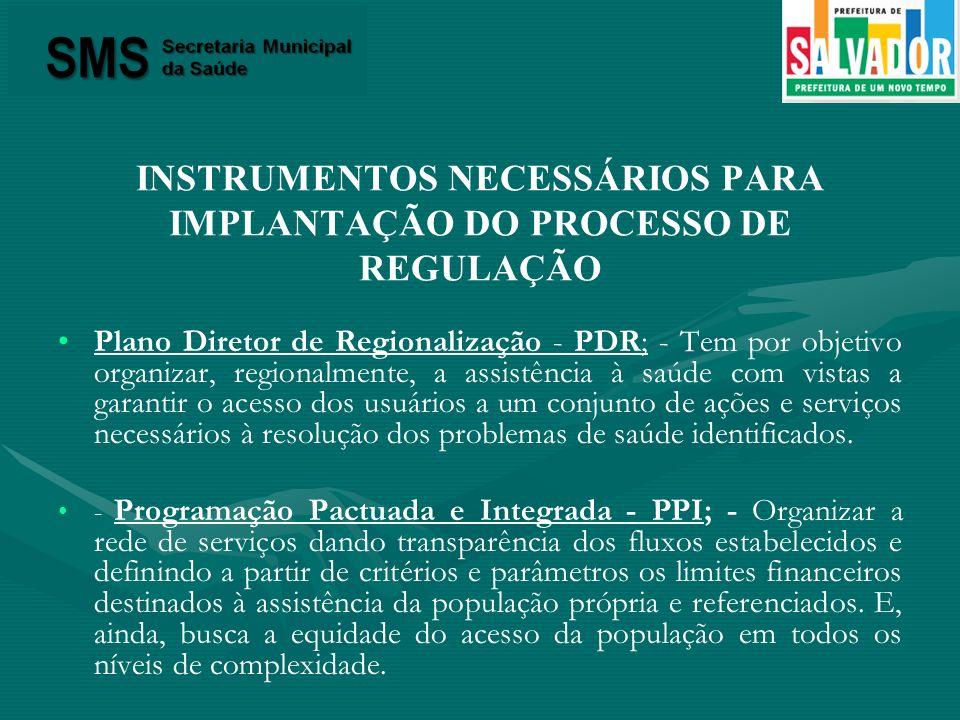INSTRUMENTOS NECESSÁRIOS PARA IMPLANTAÇÃO DO PROCESSO DE REGULAÇÃO