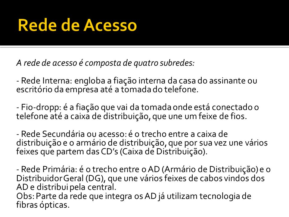 Rede de Acesso A rede de acesso é composta de quatro subredes: