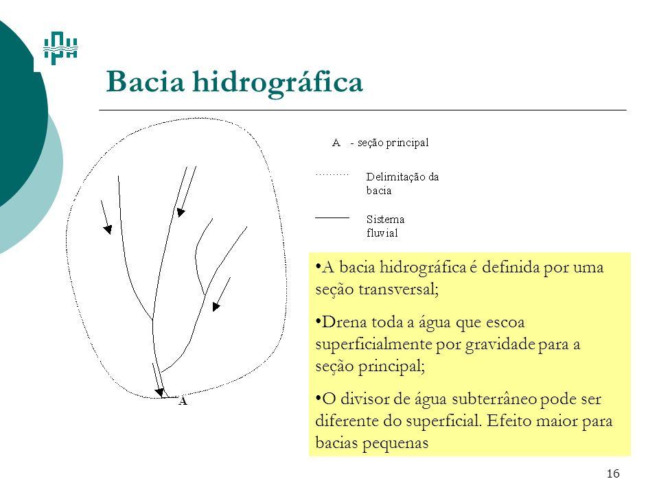 Bacia hidrográfica A bacia hidrográfica é definida por uma seção transversal;