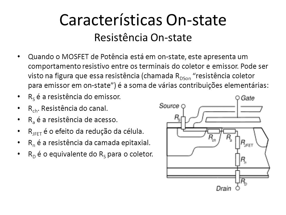 Características On-state Resistência On-state