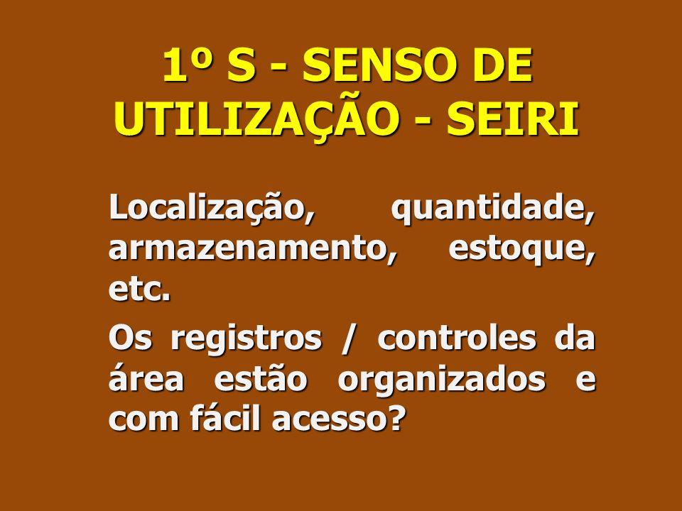 1º S - SENSO DE UTILIZAÇÃO - SEIRI