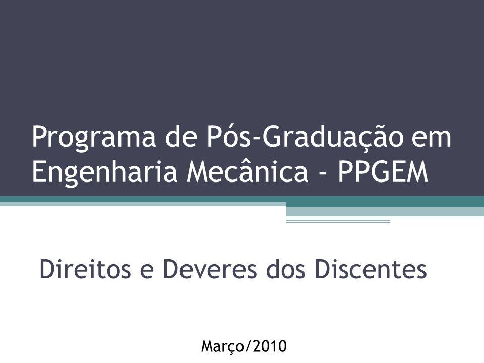 Programa de Pós-Graduação em Engenharia Mecânica - PPGEM