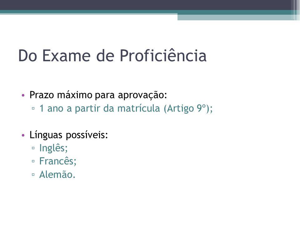 Do Exame de Proficiência