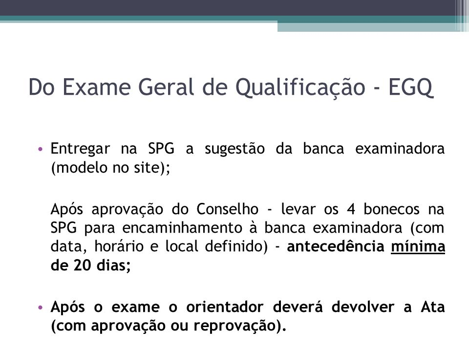 Do Exame Geral de Qualificação - EGQ
