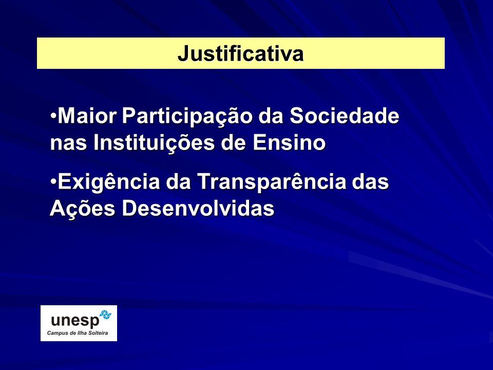 Justificativa Maior Participação da Sociedade nas Instituições de Ensino.