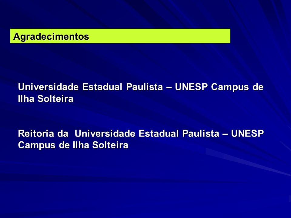 Agradecimentos Universidade Estadual Paulista – UNESP Campus de Ilha Solteira.