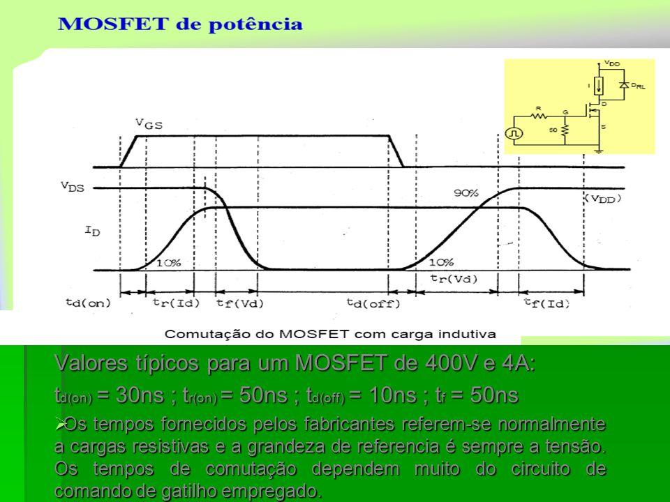 Valores típicos para um MOSFET de 400V e 4A: