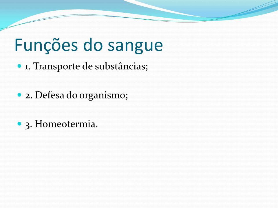 Funções do sangue 1. Transporte de substâncias;