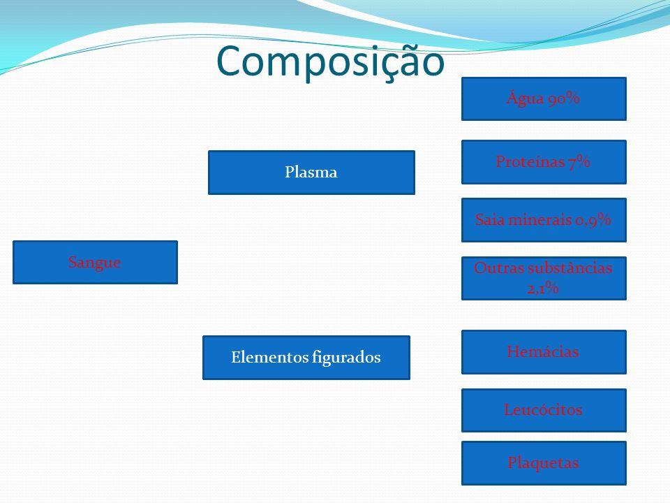Composição Água 90% Proteínas 7% Plasma Saia minerais 0,9% Sangue