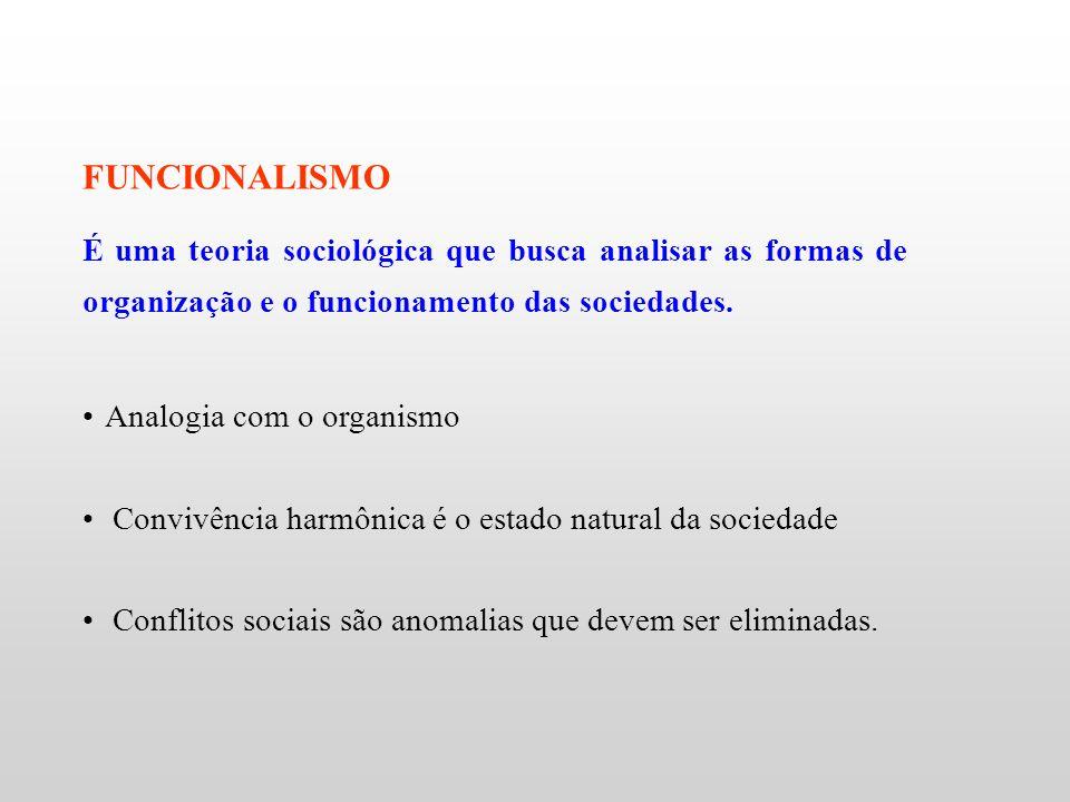 FUNCIONALISMO É uma teoria sociológica que busca analisar as formas de organização e o funcionamento das sociedades.