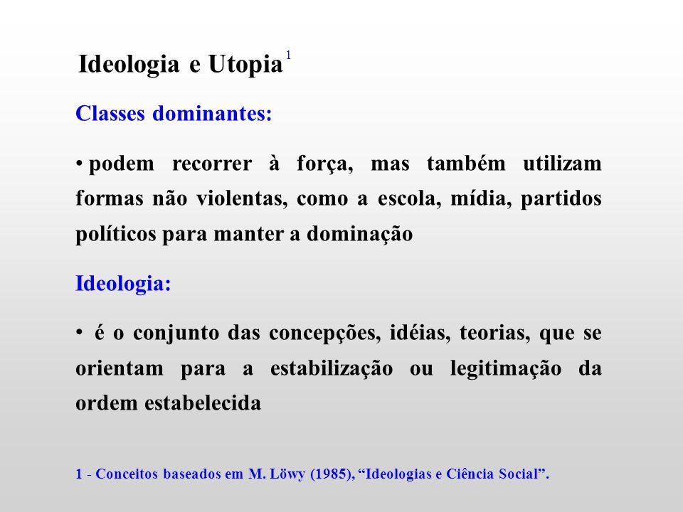 Ideologia e Utopia Classes dominantes: