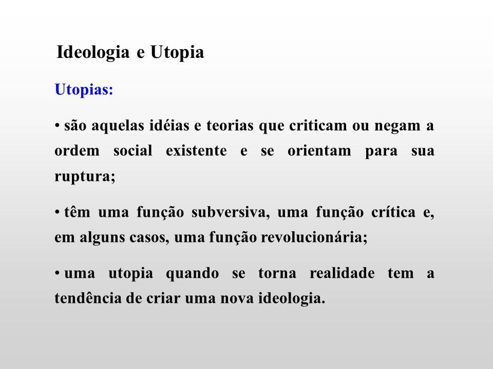 Ideologia e Utopia Utopias: