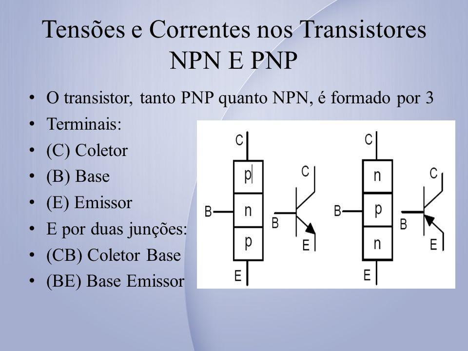 Tensões e Correntes nos Transistores NPN E PNP