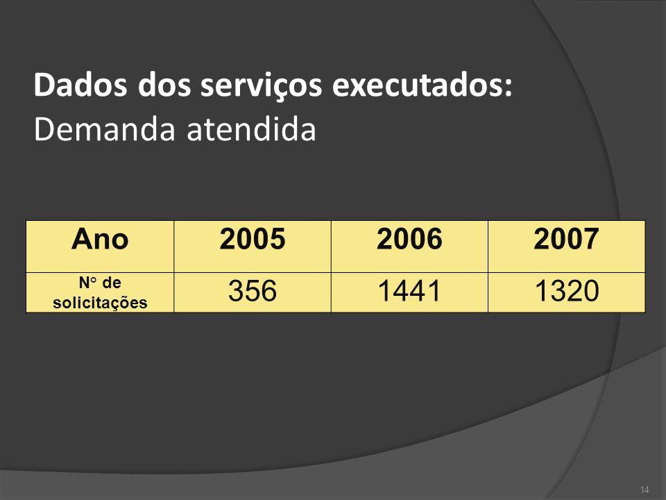 Dados dos serviços executados: Demanda atendida