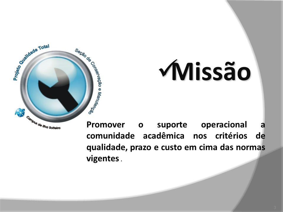 Missão PROMOVER SUPORTE OPERACIONAL A COMUNIDADE ACAD~EMICO DENTRO DOS CRITÉRIOS DE QUALIDADE EM SERVIÇOS.