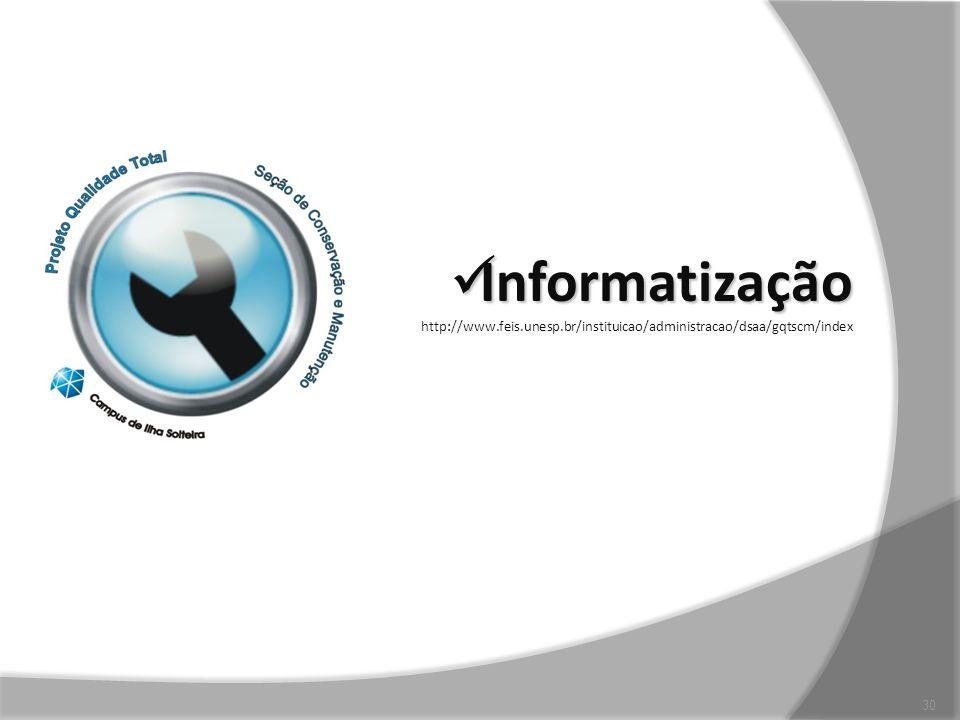 Informatização http://www.feis.unesp.br/instituicao/administracao/dsaa/gqtscm/index
