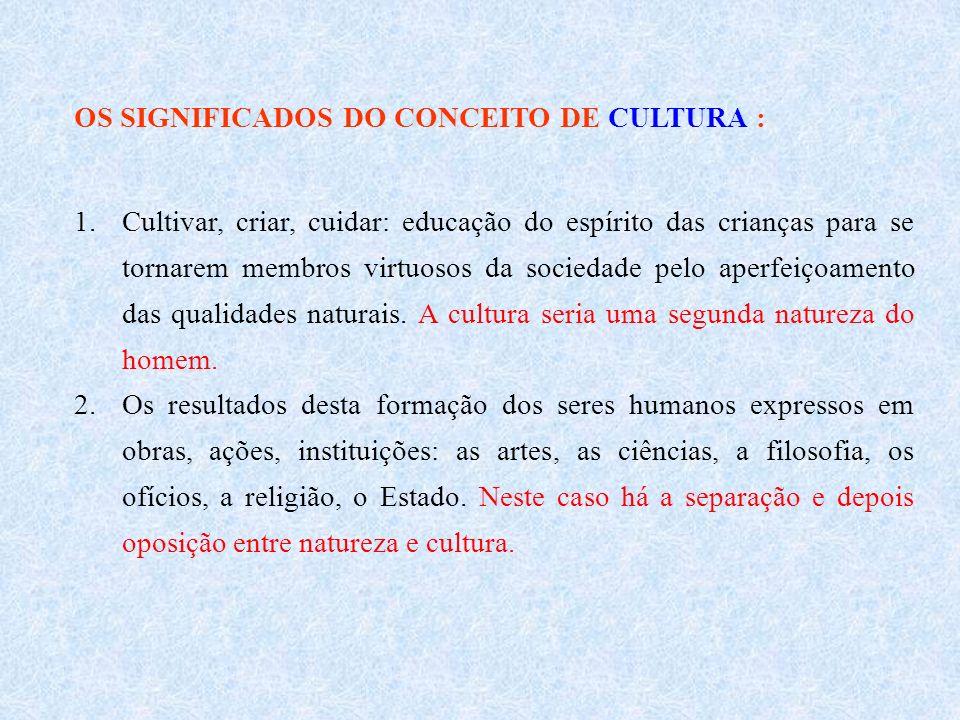 OS SIGNIFICADOS DO CONCEITO DE CULTURA :