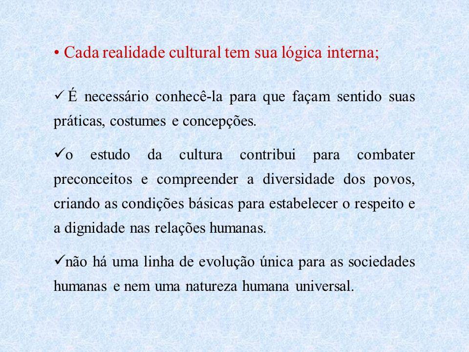 Cada realidade cultural tem sua lógica interna;