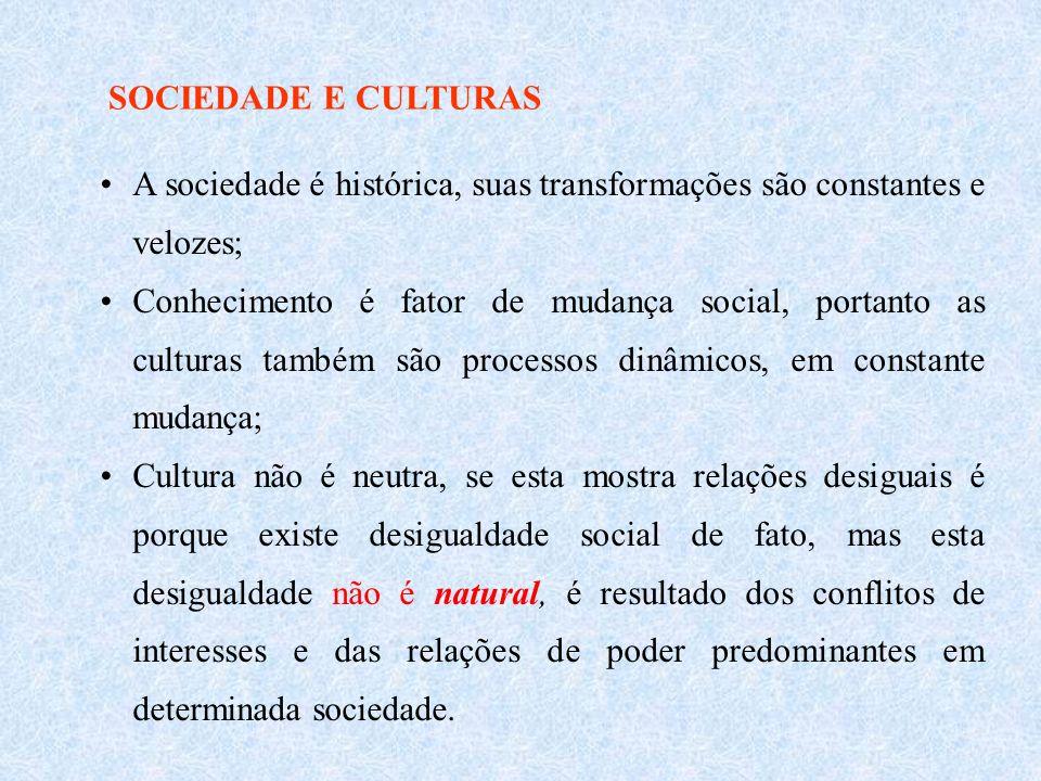 SOCIEDADE E CULTURAS A sociedade é histórica, suas transformações são constantes e velozes;